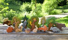 BIG SET Animal toys Forest animals + Trees Nature table Waldorf toys Wooden toys Animal figures Toys for kids The Animals, Wooden Animals, Forest Animals, Baby Animals, Pet Toys, Kids Toys, Animal Set, Waldorf Toys, Waldorf Playroom