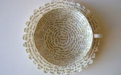 paper cup made of cut up book pages and glue *sold* Up Book, Book Pages, Book Art, Recycled Books, Recycled Art, Recycled Materials, Book Crafts, Paper Crafts, Paper Paper