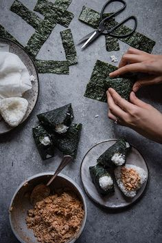 These salmon onigiri are as simple as they are delicious -- just rice and salty, slightly spicy salmon, wrapped up in snappy seaweed. Sushi Ingredients, Salmon Wrap, A Food, Food And Drink, Onigirazu, Japanese Diet, Spicy Salmon, Red Bowl, Fish Salad