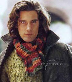 мужской полосатый шарф спицами