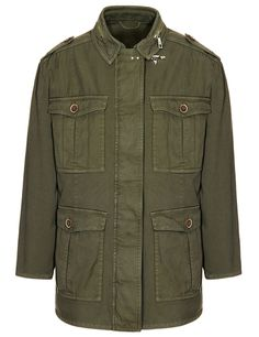 Oversized Field Jacket in thread-dyed canvas with F Double Star branded shoulder tabs, concealed zip fastening and iconic Fay hook at collar level. Safari dress code for the urban jungle.
