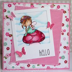 A bright and colourful card featuring a cute fairy digi stamp by Tiddly Inks in a polaroid frame with stitching and butterfly details.