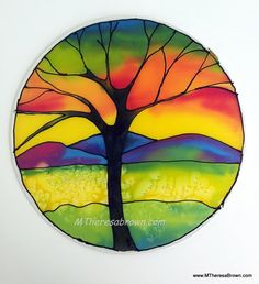 "Tree at Sunset Silk Painting original art by M Theresa brown of onroadartists on Etsy, $45.00 10"" diameter, ready to hang!"