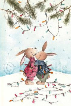 Nieuwjaarsbrief An Melis Christmas Drawing, Christmas Art, Christmas And New Year, Illustration Noel, Christmas Illustration, Ikko, Cute Paintings, Winter Scenes, Christmas Wishes