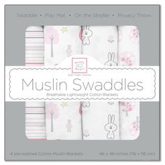 Just in! Muslin Swaddle Blankets - Pink Thicket (Set of 4)