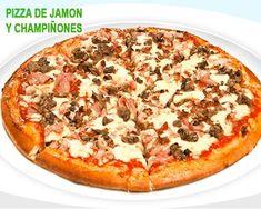 pizza casera de jamón y champiñones