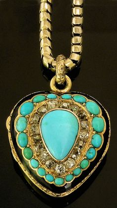 Antique Turquoise & Old Mine Diamond heart pendant via The Canterbury Auction Galleries