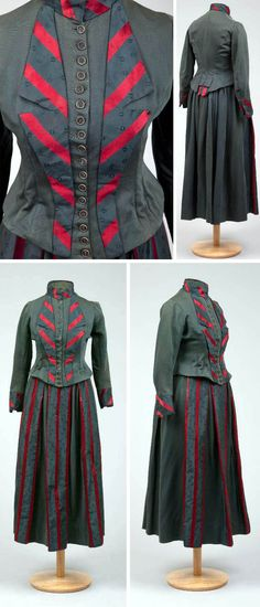 Day dress, circa 1883-1889. Dark green wool bodice and skirt, red and black stripe silk front trimming and cuffs. Via Goldstein Museum of Design, Univ. of Minnesota.
