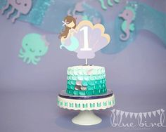 Aqua & Lavender Mermaid in Seashell Cake Topper by AngiesDesignz