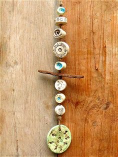 Garden Windspiel blue mint ceramic with driftwood by gedemuck, € Ceramic Jewelry, Ceramic Clay, Clay Jewelry, Ceramic Pottery, Ceramic Beads, Paper Mache Crafts, Clay Crafts, Mobiles, Pottery Making