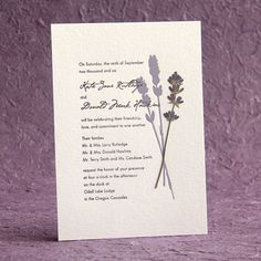 pressed lavender wedding invitation - Google Search