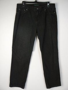 Lauren Jeans Co Ralph Lauren Black High Rise Straight Leg 12 NEW R348 #LaurenbyRalphLauren #StraightLeg
