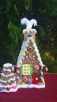 GINGERBREAD HOUSE  OOAK  Large handmade crochet by emcrafts
