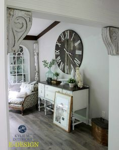 Sherwin Williams Agreeable Gray farmhouse style dining room with decor Kylie M E-design. Styling by Gingham and Grace.
