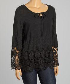 Look at this #zulilyfind! Black Crochet-Trim Tie-Neck Top - Plus by Simply Irresistible #zulilyfinds