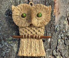 Macrame Owl Wall Hanging, made with Vintage Wood Beads, and Driftwood.
