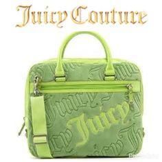 Green Velour Juicy Couture Laptop Messenger Bag NWOT 6e7dfd7dbbe6