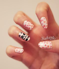 Valentine's heart with panda nail art
