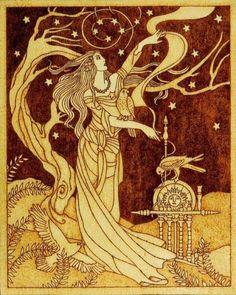 Beautiful pyrography artwork depicting Frigg, Norse goddess of wisdom and foreknowledge, wife of Odin and mother of Baldr with three sacred birds (hawk,. Frigg Norse goddess of wisdom wife of Odin Norse Goddess, Goddess Of Love, Goddess Art, Norse Mythology Goddesses, Ancient Goddesses, Moon Goddess, Fantasy Kunst, Fantasy Art, Symbole Viking