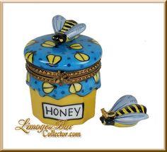 Honey Jar with Bee  Queen Bee Limoges Trinket Box (Beauchamp)