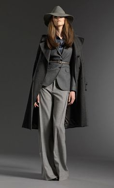 grey suit and coat