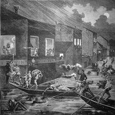 L'inondation à Bordeaux - Sauvetage des habitants de la rue Durand, Mars 1879