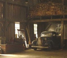 Old car in the barn
