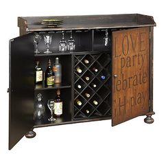 Pulaski Inscribed Wine Cabinet in Black