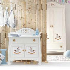our new modern nursery furniture set in white and blue with