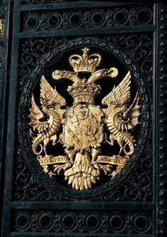 Blenheim Palace | Woodstock, Oxfordshire, England. The family armorial bearing, East Gate. Consuelo Vanderbilt, Duchess of Marlborough was the mother of the 10th Duke and grandmother of the 11th (current) Duke.