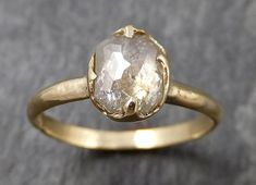 Fancy cut white Diamond Solitaire Engagement 18k yellow Gold Wedding Ring byAngeline 0945