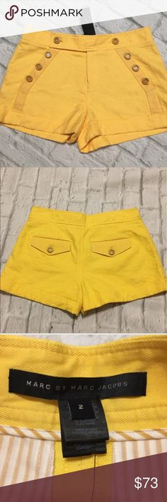 Marc Jacobs Sailor shorts 2 Marc by Marc Jacobs - nwt sailor style shorts! Lattice floral design throughout see last pic for beautiful detail. Beautiful buttons. Front zipper. Photo makes them look a bit of a brighter yellow the first pic shows actual color.  B1 Marc By Marc Jacobs Shorts
