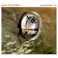 50's Painted Butterfly Wing Ring ($61) ❤ liked on Polyvore featuring jewelry, rings, cabochon ring, beach jewellery, beach jewelry, butterfly rings and glass jewelry