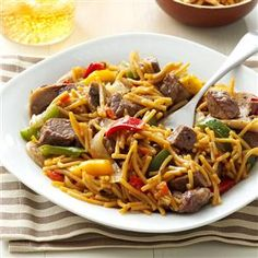 Beef Teriyaki Noodles Recipe -At our house, we love to combine fresh ingredients with a pantry product. This version starts with beef, onions, peppers and mushrooms, since we always have them on hand, but make the dish your own—bring out your inner chef! —Richard Robinson, Park Forest, Illinois