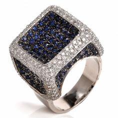 Italian Sapphire Diamond 18K Gold Cocktail Ring Item #558410 - 1