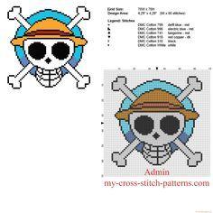Logo dibujo animado manga One Piece patron esquema punto de cruz