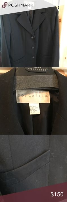 Doncaster Designer Black Wool Blazer Size 18 This is a Don Caster designer blazer black wool gab it's fully lined beautiful buttons nice profit and slits on the sleeves and the pictures are are very clear regular $395 new jacket Doncaster Jackets & Coats Blazers
