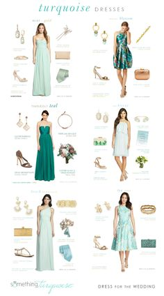 Dress ideas in Turquoise and Light Blue from Dress for the Wedding Wedding Colors, Wedding Styles, Wedding Ideas, Formal Wedding Guests, Debut Dresses, Outfits Fiesta, What To Wear To A Wedding, Green Bridesmaid Dresses, Cocktail Attire