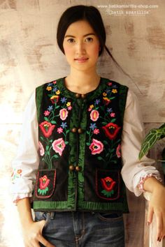 Batik Amarillis's folklore 2014 vol 2 splendid black velvet Hungarian embrodery vest with Tenun batik gedog Tuban of Indonesia accented with unique wooden buttons ..enjoy our beautiful ethnic inspired collection and spectacular Hungarian folk art embroidery..