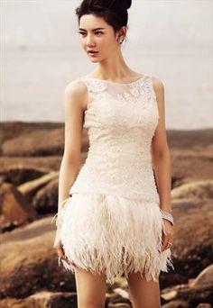 Fur skirt Bridesmaid Wedding Dress