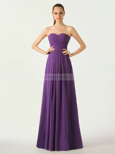 Medium Purple Sweetheart Chiffon Bridesmaid Dress with Lace Up Back
