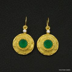 BIG NATURAL GREEN ONYX BYZANTINE 925 STERLING SILVER 22K GOLD PLATED EARRINGS #IreneGreekJewelry #DropDangle