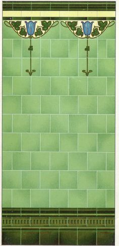 Malkin Art Nouveau tiles used in situ Glasgow My colors.my style for door alcoves in the loft suite. Found resource in TX for repro, I'm looking for the original for the decorative pieces. Art Deco Bathroom, Art Nouveau Tiles, Art Nouveau Design, Art Nouveau Wallpaper, Architecture Art Nouveau, Art Nouveau Interior, Glasgow, Azulejos Art Nouveau, Craftsman Tile
