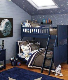 Boys Space Bedroom Star Wars Outer Space Bedroom For Twins Boys Bunk Bed And … - My Dreamy Interiors Boys Space Bedroom, Outer Space Bedroom, Bunk Beds For Boys Room, Bunk Bed Rooms, Boys Bedroom Decor, Boy Room, Trendy Bedroom, Room Kids, Rooms For Boys