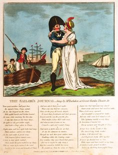 The Sailor's Journal. Sung by Mr Incledon at Covent Garden Theatre, &c Fine Art Print by Robert Laurie & James Whittle History Cartoon, Maritime Museum, Covent Garden, Royal Navy, Caricature, Theatre, Fine Art Prints, Singing, Journal