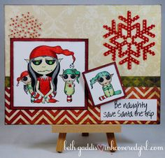 Christmas card featuring stamps from Queen Kat Designs