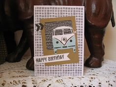 Vw Camper, Vw Bus, Volkswagen, Marianne Design, Distress Ink, Colored Pencils, Holland, Stampin Up, Birthday Cards