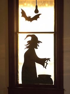 Halloween Window Silhouettes Printable   Witch at the Window Silhouette - free pattern by Daisy Faye