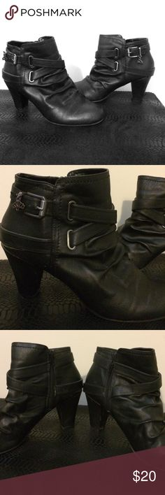 Fergalicious booties wides Chic Fergi booties with a cute charm on each buckle.  Booties zip up on the sides, very comfortable, worn only a few times outside, I just have to sell them bc I can't walk in heels. Fergalicious Shoes Ankle Boots & Booties