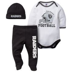 Baby Oakland Raiders 3-Piece Footed Bodysuit Set 27bca0af7